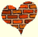Heart made of brick